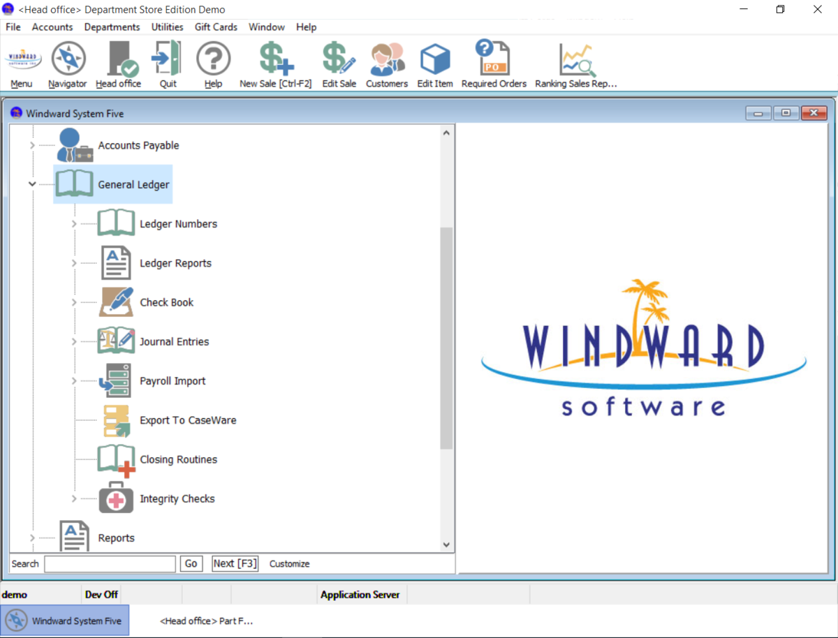 Windward System Five includes a full accounting suite in its business management software package