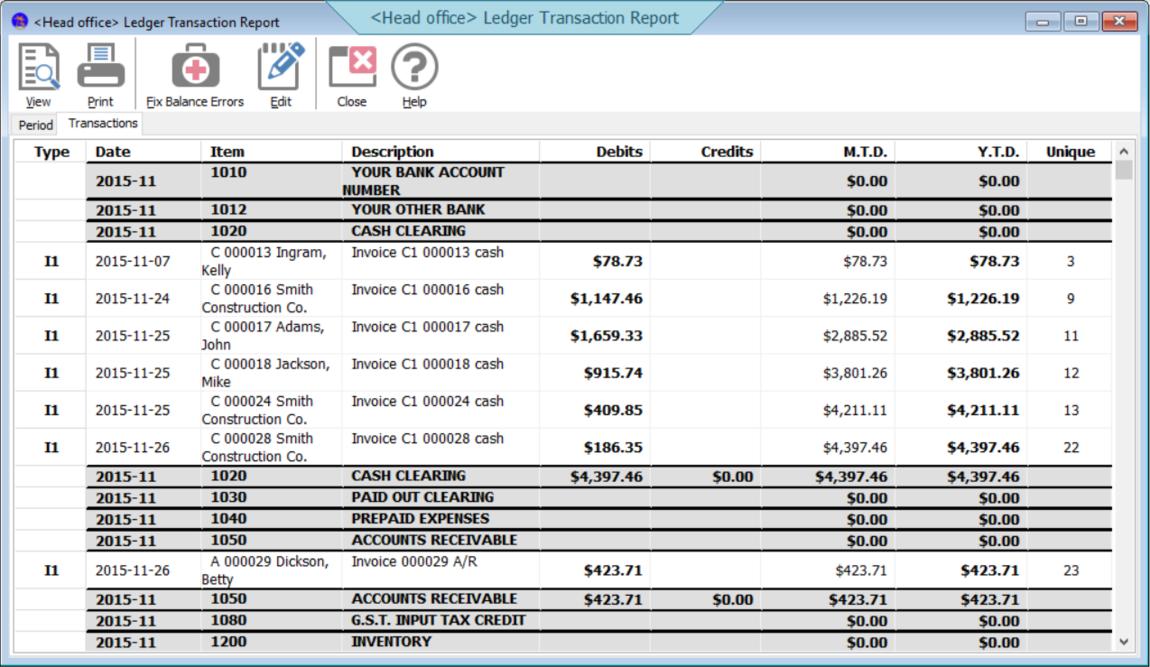 GL transactions