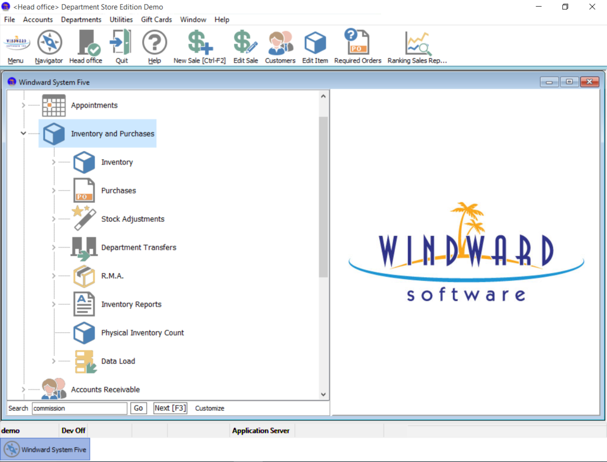 Inventory control is a big part of what makes Windward System Five such a great business software package